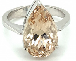 Imperial Topaz 7.70ct Solid 18K White Gold Ring