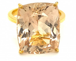 Imperial Topaz 20.31ct Solid 22K Yellow Gold Solitaire Ring, Natural and Un