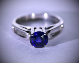 Iolite 1.22ct Platinum Finish Solid 925 Sterling Silver Ring