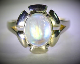 Moonstone 4.90ct Platinum Finish Solid 925 Sterling Silver Ring