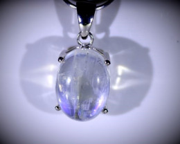 Moonstone 7.15ct Platinum Finish Solid 925 Sterling Silver Pendant