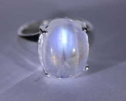 Moonstone 9.50ct Platinum Finish Solid 925 Sterling Silver Ring