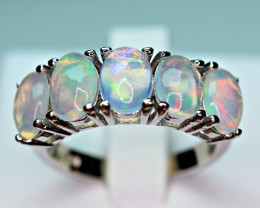 Natural Multi Fire several Opal Cabochon,CZ 925 Silver Ring#1