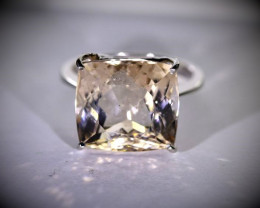 Imperial Topaz 13.48ct Solid 18K White Gold Ring