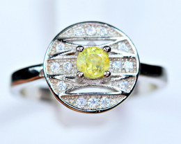 Natural transparent high quality top luster&Fire Sphene,CZ925 Silver Ring