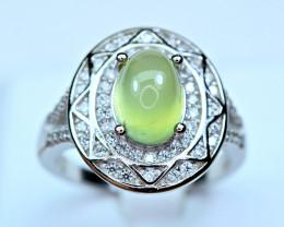 Natural lustrous Top color Brilliant huge Prehnite , CZ 925 Silver Ring