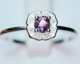 Natural top Burmese Top Color lustrous Spinel ,CZ 925 Silver Ring
