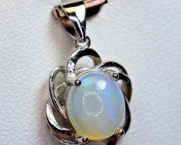 Natural Multi Fire Opal Cabochon 925 Silver Pendant
