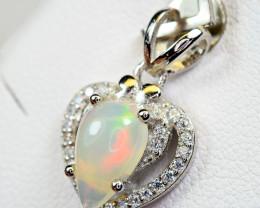 Natural Multi Fire Opal Cabochon ,CZ  925 Silver Heart Shape Pendant