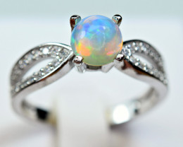 Natural Multi Fire Top  Opal Cabochon,CZ 925 Silver Ring#2