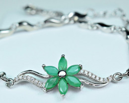 Natural Green Emerald ,CZ 925 Silver Nice shape Bracelet
