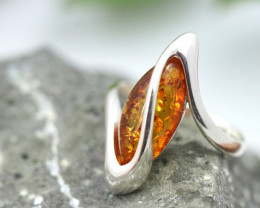 Natural Baltic Amber Sterling Silver Ring size 8 code GI 455