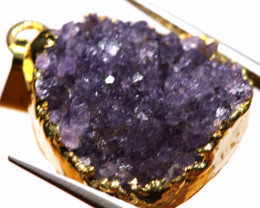 19.60 CTS AMETHYST CRYSTAL GOLD PLATED PENDANT SJ-1241