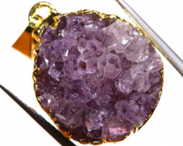 32.20 CTS AMETHYST CRYSTAL GOLD PLATED PENDANT SJ-1243