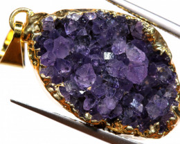 23.95 CTS AMETHYST CRYSTAL GOLD PLATED PENDANT SJ-1246