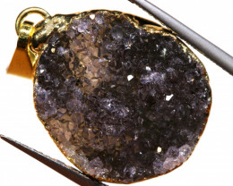 16.50 CTS AMETHYST CRYSTAL GOLD PLATED PENDANT SJ-1247