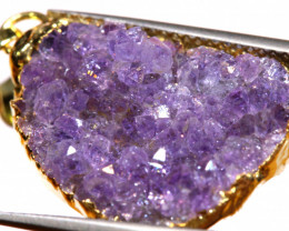 12.50 CTS AMETHYST CRYSTAL GOLD PLATED PENDANT SJ-1254
