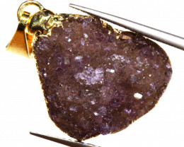 15.85 CTS AMETHYST CRYSTAL GOLD PLATED PENDANT SJ-1257