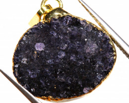 12.25 CTS AMETHYST CRYSTAL GOLD PLATED PENDANT SJ-1260