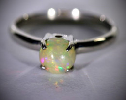 Opal ,90ct Platinum Finish Solid 925 Sterling Silver Ring