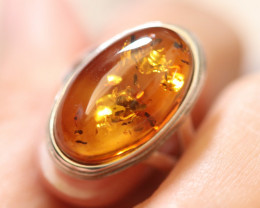 Natural Baltic Amber Sterling Silver Ring size 8 code GI 526