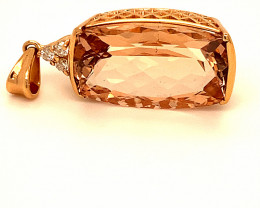 Morganite 14.42ct Natural Diamonds Solid 18K Rose Gold Pendant