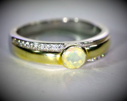 White Opal .50ct Golden Rhodium Finish Solid 925 Sterling Silver Ring
