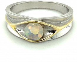 White Opal .55ct Golden Rhodium Finish Solid 925 Sterling Silver Ring