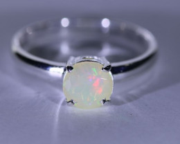 Precious Opal .67ct Platinum Finish Solid 925 Sterling Silver Solitaire Rin