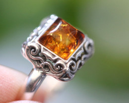 Natural Baltic Amber Sterling Silver Ring size 10 code GI 588