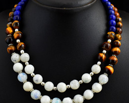 2 Line Tiger eye , Moonstone & Lapis Lazuli Beads   Necklace
