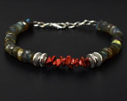 Amazing Flash Labradorite & Red Jasper Beads Bracelet