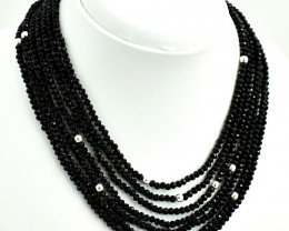 7 Line Faceted Black Spinel Beads Necklace