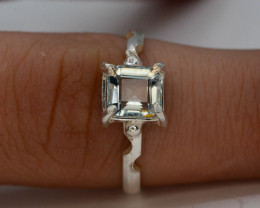 8.05 Ct Silver Ring ~ With Natural Aquamarine Stone