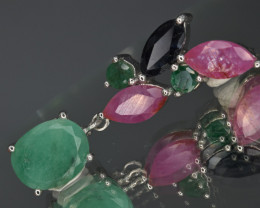 Natural Ruby , Emerald , Sapphire  and 925 Silver Pendant