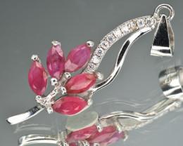 Natural Ruby and 925 Silver Pendant
