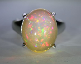 Opal 9.90ct Platinum Finish Solid 925 Sterling Silver Ring