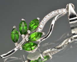 Natural Green Chrome Diopside  and 925 Silver Pendant