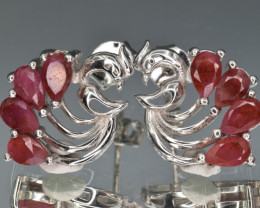 Natural Ruby and 925 Silver Earrings