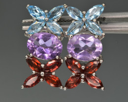 Natural Blue Topaz , Rhodolite , Amethyst ,CZ and 925 Silver Earrings