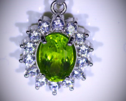 Peridot 1.25ct White Gold Finish Solid 925 Sterling Silver Pendant
