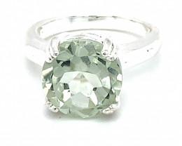 Prasiolite 4.08ct Platinum Finish Solid 925 Sterling Silver Ring