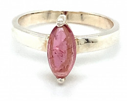 Pink Tourmaline 1.80ct Platinum Finish Solid 925 Sterling Silver Ring