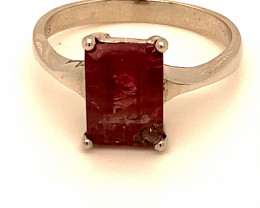 Rubellite 3.40ct Platinum Finish Solid 925 Sterling Silver Ring