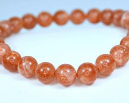Natural lustrous Red 7.2mm Sunstone 25Pis beads Bracelet