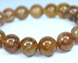Natural 11.3mm Mix&Golden Rutilated Quartz  17 Pis beads Bracelet#1