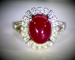 Ruby 5.80ct Platinum Finish Solid 925 Sterling Silver Ring
