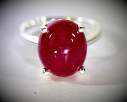 Ruby 11.80ct Platinum Finish Solid 925 Sterling Silver Ring
