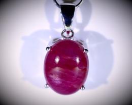 Longido Ruby 14.10ct Platinum Finish Solid 925 Sterling Silver Pendant