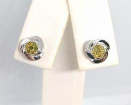 Yellow Diamond Earrings 0.15tcw.